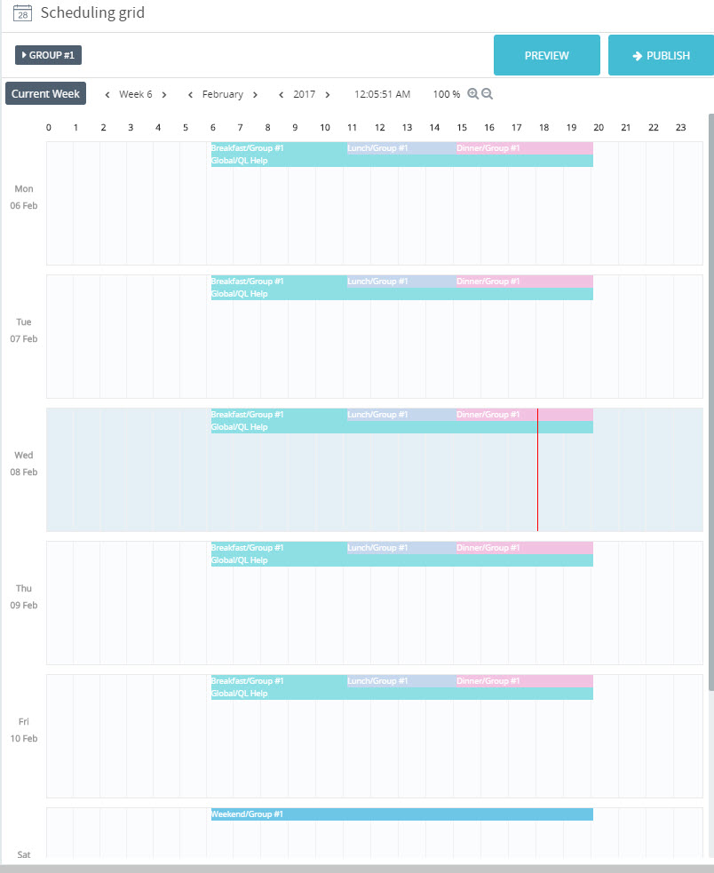 The Scheduling Grid - Navori QL Professional User Manual.